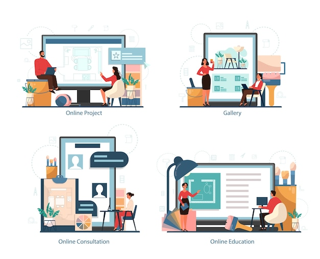 Plataforma profesional de servicio de interiorismo en diferentes conjuntos de conceptos de dispositivo. decorador planificando la habitación, eligiendo el color de la pared y el estilo de los muebles. renovación de la casa.
