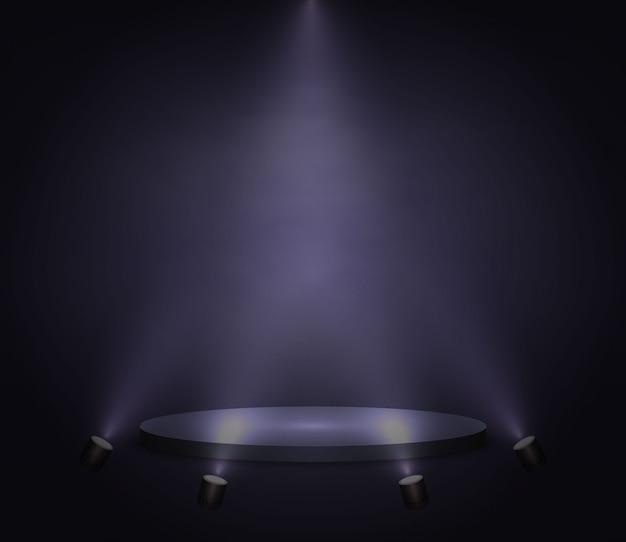 Plataforma realista, podio o pedestal sobre fondo negro.