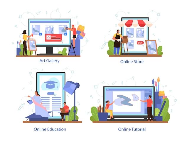 Plataforma de servicio para artistas en diferentes conjuntos de conceptos de dispositivos. idea de gente creativa y profesión. galería de arte, tienda de artistas, curso online y tutorial.