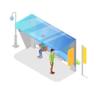 Plataforma de transporte de la ciudad isométrica 3d