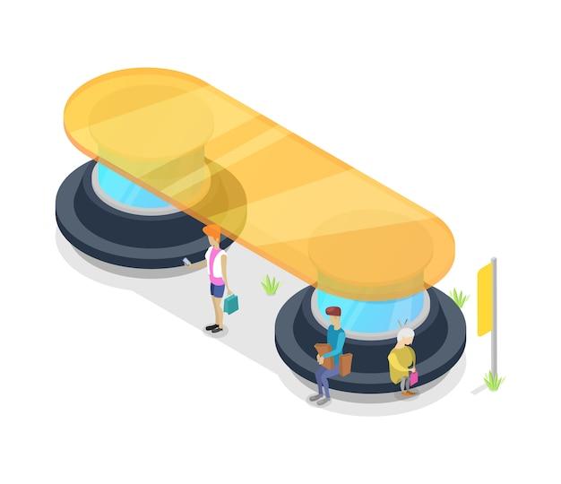 Plataforma de transporte de pasajeros isométrica 3d