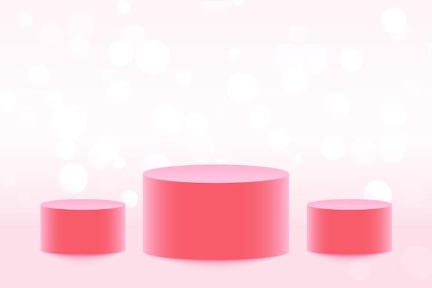 Plataforma de tres podios para exhibición de productos