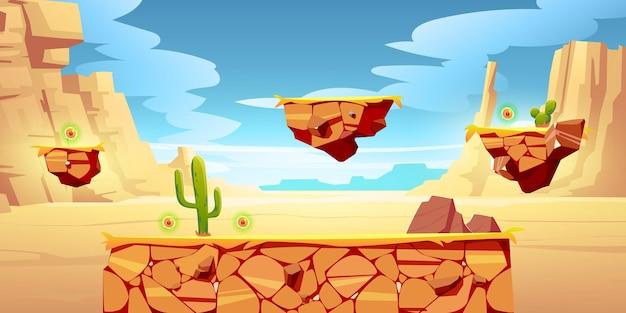 Plataformas de juego en paisaje desértico.