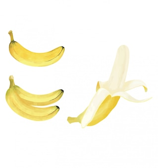 Plátano amarillo con estilo acuarela