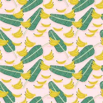 Plátano amarillo y hojas de plátano de patrones sin fisuras