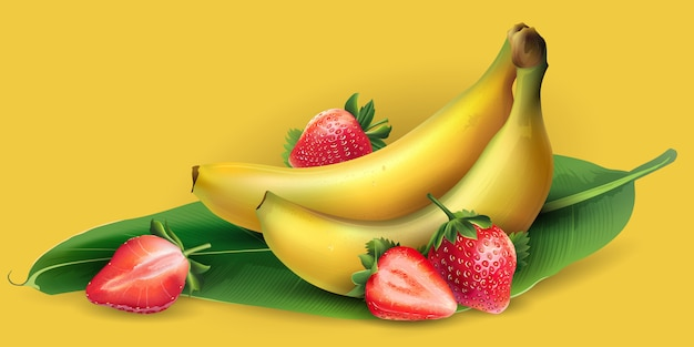 Plátano y fresa