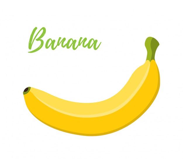 Plátano, fruta amarilla tropical. estilo plano de dibujos animados