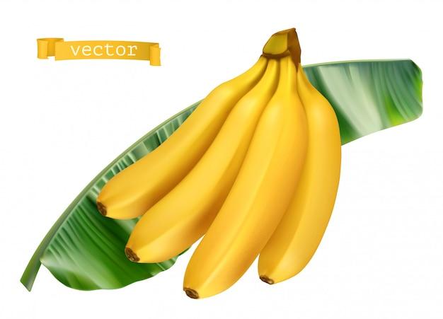 Plátano en hoja verde. icono realista 3d de fruta fresca