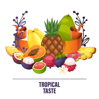 Plátano de manzana con sabor a fruta y papaya exótica rodajas frescas de fruta de dragón tropical jugosa ilustración de naranja