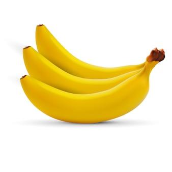 Plátano realista aislado en blanco