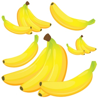 Plátano sobre fondo blanco