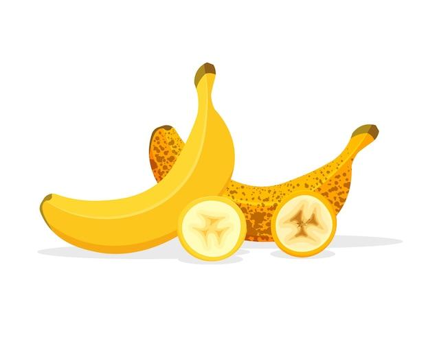 Plátanos cortados aislado sobre fondo blanco.