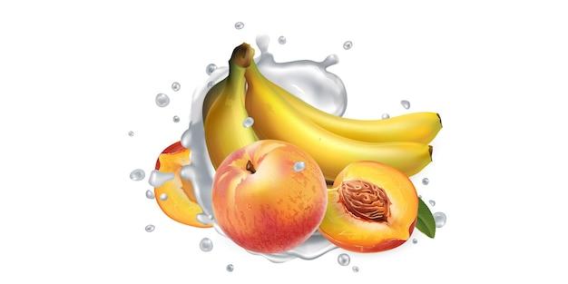 Plátanos y melocotones y un chorrito de yogur o leche sobre un fondo blanco. ilustración realista.