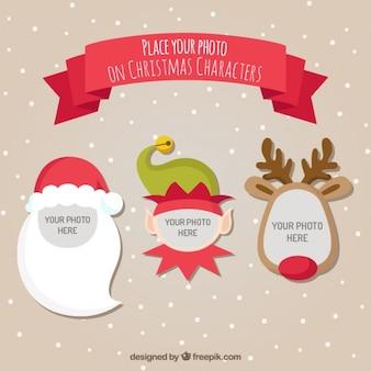 Platilla de personajes de navidad para fotos