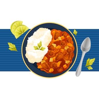 Plato de arroz al curry dibujado a mano