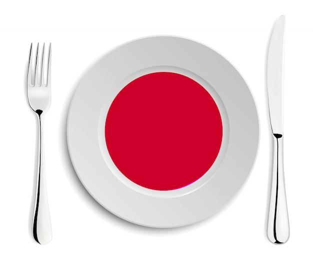 Plato con bandera de japón