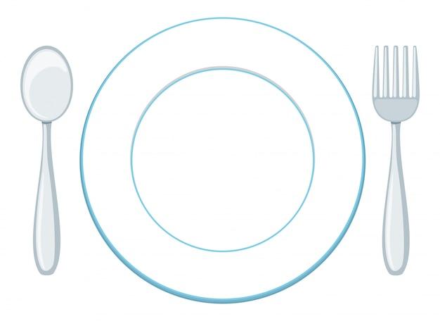 Un plato en blanco con cuchara y tenedor