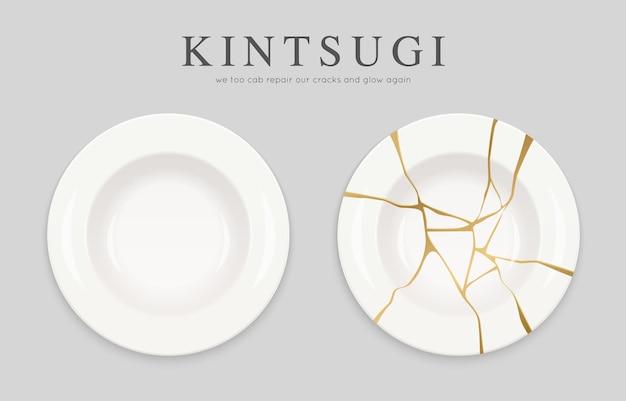 Plato blanco roto con grietas de kintsugi de oro
