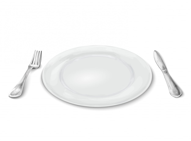 Plato con cuchillo y tenedor
