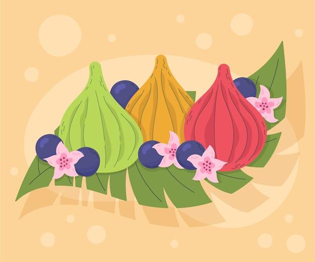 Plato dibujado a mano de deliciosos modak y flores.