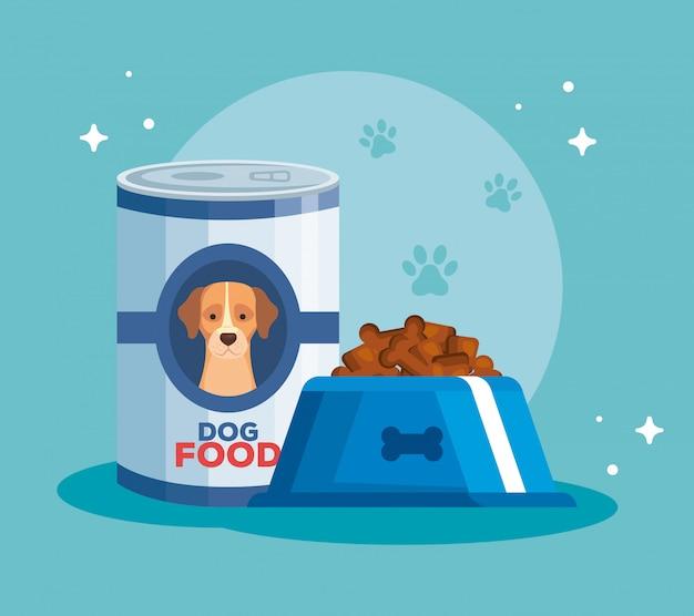 Plato y lata de comida para diseño de ilustración de vector de perro animal