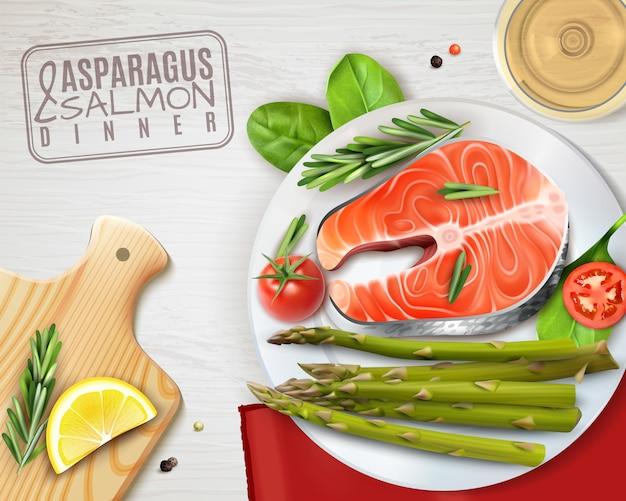 Plato realista de espárragos y salmón