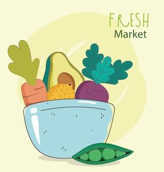 Plato tazón aguacate pan berenjena mercado fresco alimentos orgánicos saludables con frutas y verduras