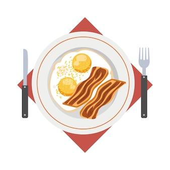 Plato de tortilla. desayuno rápido y fácil con huevo y tocino. comida saludable. ilustración