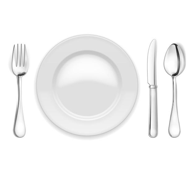 Plato vacío de vector con cuchara, cuchillo y tenedor