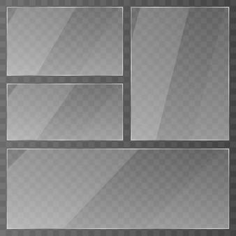 Plato de vidrio. acrílico y textura de vidrio con resplandores y luz. ventana de cristal transparente realista en marco rectangular.