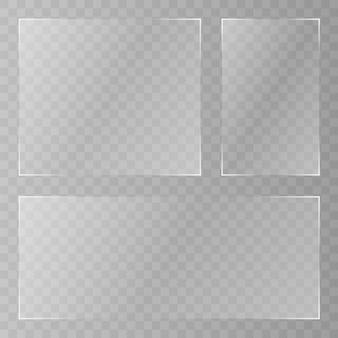 Plato de vidrio . acrílico y textura de vidrio con resplandores y luz. ventana de cristal transparente realista en marco rectangular.