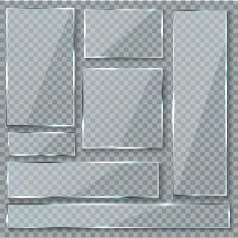 Plato de vidrio. efecto de textura de vidrio ventana plástico transparente transparente pancartas placas acrílico brillante signos conjunto