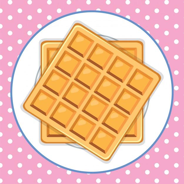 Un plato de waffle lindo fondo