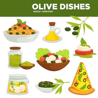 Platos de aceituna vector de comida, aceite y ensaladas.