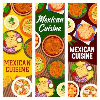 Platos de carne de cocina mexicana, banner de comidas de mariscos