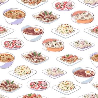 Platos de cocina china sobre fondo blanco.