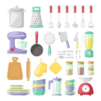 Platos de cocina vector elementos planos aislados