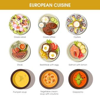 Platos de comida de cocina europea para plantillas vectoriales de menú.