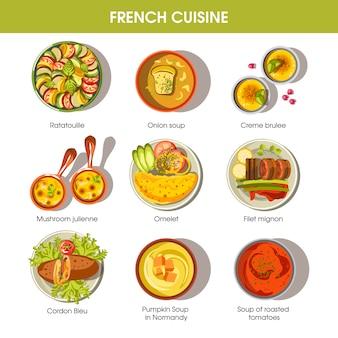 Platos de comida de la cocina francesa para las plantillas de vectores de menú
