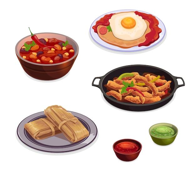 Platos de comida de la cocina mexicana de fajitas de carne a la parrilla con salsa de tomate y salsas de guacamole de aguacate.