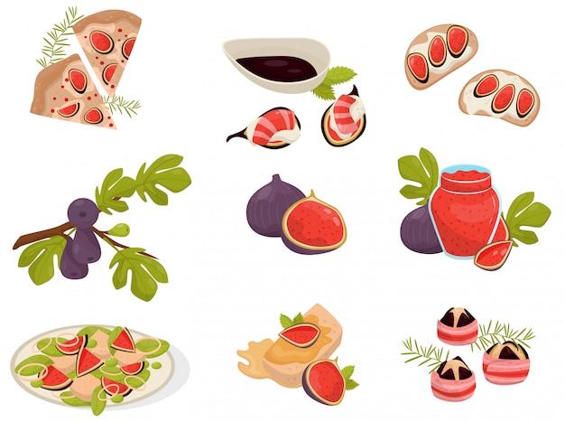 Platos con conjunto de frutas de higo, pizza, sándwich, canap, vaso de mermelada, capcake ilustraciones sobre un fondo blanco.