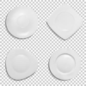Platos de diferentes formas de ilustración. aislados modelos realistas en 3d de cerámica.