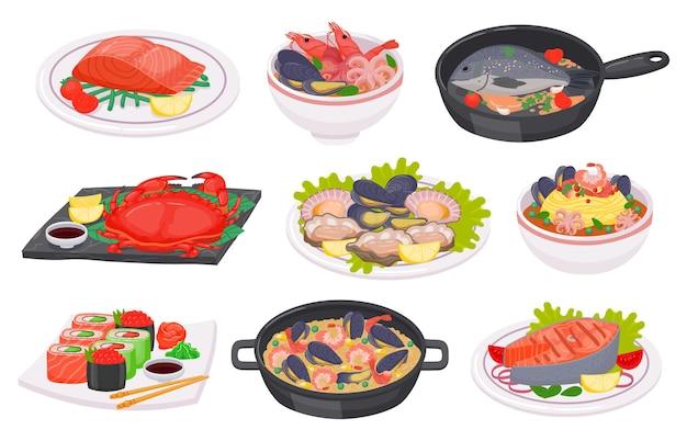 Platos de mariscos de dibujos animados con pescado, pulpo, camarones y filete de salmón. sushi, cangrejo, ensalada, sopa y fideos con mariscos en un plato, conjunto de vectores. comida deliciosa con ingredientes marinos.
