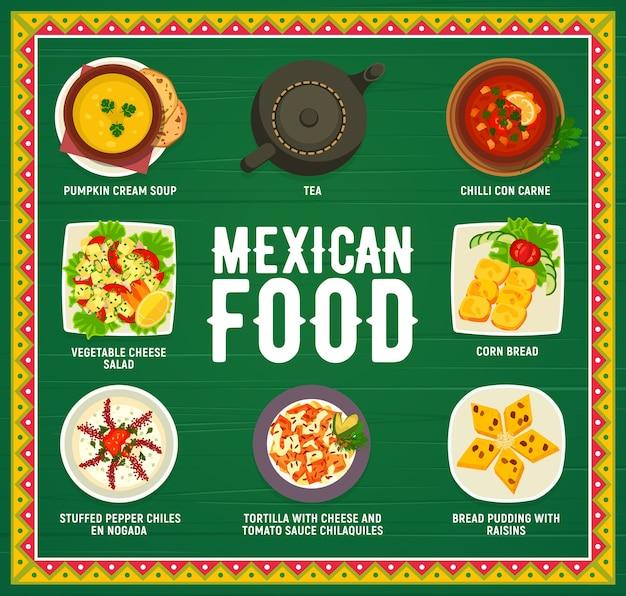 Platos de menú de cocina mexicana