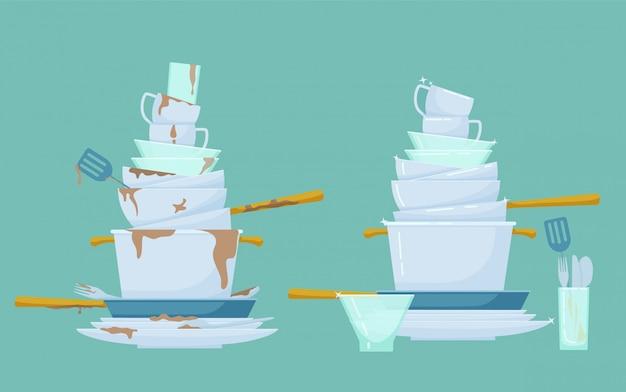 Platos de montaña limpios, sucios. apile los platos sucios y antihigiénicos con los restos de comida y lávelos limpiamente.