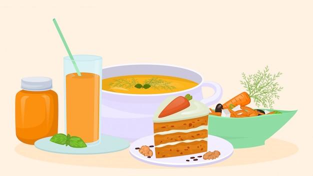 Platos preparados a partir de zanahorias, sopa, pastel de zanahoria, ensalada e ilustración de jugo. comida vegetariana saludable de zanahoria.