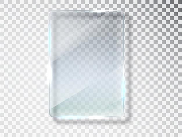 Platos de vidrio. vidrio aislado sobre fondo transparente. vidrio plano textura realista con reflejos y brillo en el transparente.