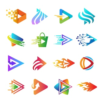 Play app logo collection, set of play button logo