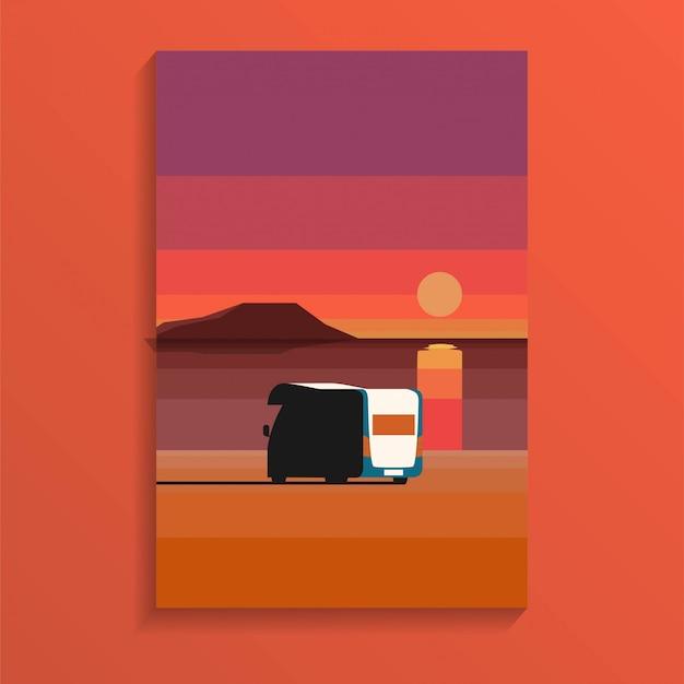 Playa de arena del océano tropical en la puesta del sol durante el día con una caravana estacionada cerca del mar en estilo minimalista de vacaciones