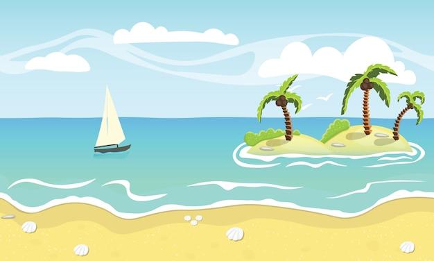 Playa de arena, palmeras y mar.